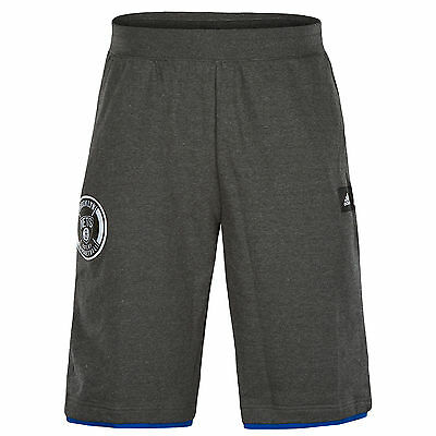 adidas Mens NBA Brooklyn Nets Basketball Sweat Fleece Washed Shorts