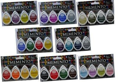 Tsukineko MEMENTO Dew Drop INK PADS Set of 4 different colours - assorted mix