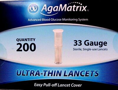 Agamatrix ultra-thin lancets 33g, pack of 200