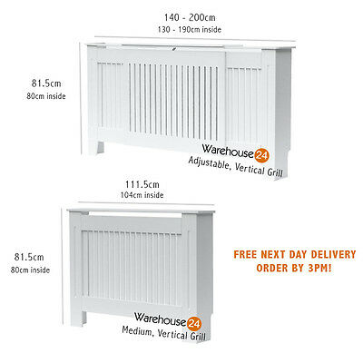 New Radiator Cover Cabinet MDF WHITE Painted Medium,Adjustable Vertical Grill