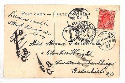 AS168 1907 GB Used in INDIA Bombay to GB Postcard. Unpaid 1d to pay
