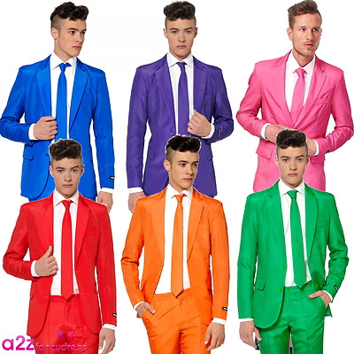 Mens Suit Red Blue Green Orange Purple Pink Suitmeister Party Stag Novelty