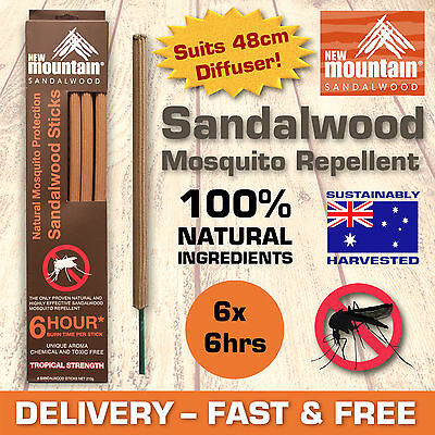 New Mountain® 100% Natural Sandalwood Mosquito Repellent Sticks 6 x 6hrs