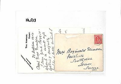 HL533 1907 GB The Hemploe Rugby Lewes Sussex  Cover/Letter