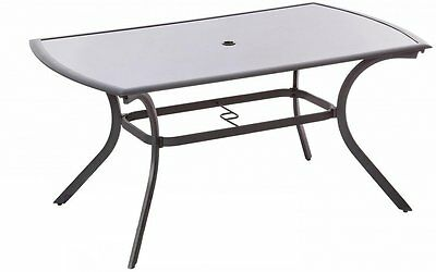 Royalcraft Patio Dining Table Metal Garden Furniture Table Large Black Glass Top
