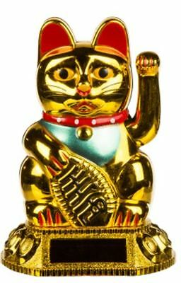 Golden Waving Cat Solar Cell Chinese Lucky Powered Figure Moving Arm Gift Decor