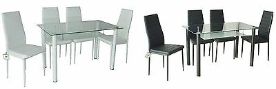 Table and Chairs Contemporary Glass Tuscany Dining Table and 4 Chairs