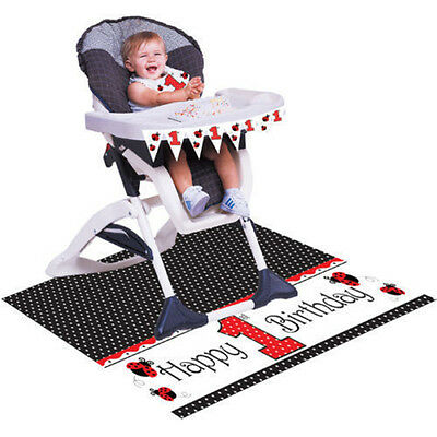 Ladybugs High Chair Kit Party Supplies Decoration Baby Shower Boy Girl Ladybird