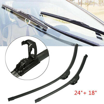 24'' + 18'' Universal J-Hook Car Window Windshield Wiper Blade Bracketless EPYG