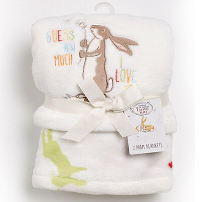 Guess How Much I Love You GHMILY Set of 2 Luxury Baby Pram Blankets