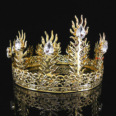 Men's Imperial Medieval Fleur De Lis Gold King Crown 11cm High 18cm Diameter