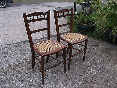 Matching Pair Antique Bergere Seat Bedroom Chairs Wicker Old Edwardian Vintage 2