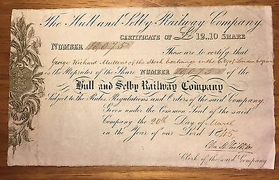 1845 Hull And Selby Railway £12:10 Share