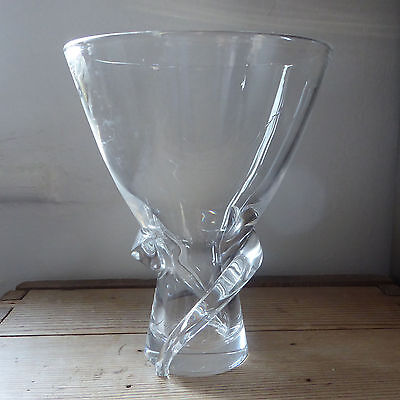 Steuben signed crystal Spiral vase. #8058, Donald Pollard 1955. Whirl. art glass
