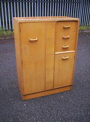 Super 50's Era Oak G Plan Brandon Combination Wardrobe Dressing Chest Of Drawers
