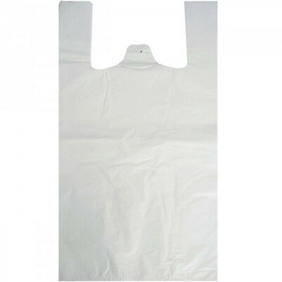 Strong White Plastic Polythene Vest Handle Carrier Bags Multiple Sizes & Qtys