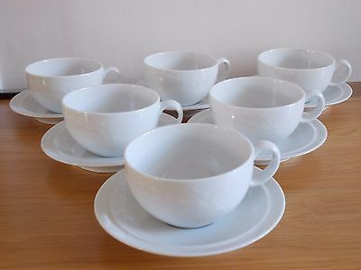 6 x Denby WHITE TRACE Cups & Saucers VGC