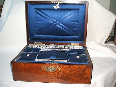 Superb Antique Victorian Inlaid Rosewood Work Sewing Box complete with Bobbins
