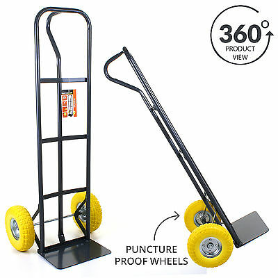 550LB Sack Truck Heavy Duty Industrial Hand Trolley Puncture Proof Tyres Wheels