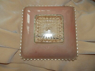 Vintage Pink Square Glass Ceiling Light Fixture Home Architectural Salvage 40's
