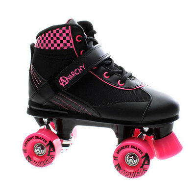 NEW Anarchy Mayhem Kids/Girls Quad Roller Skates in Black/Pink Sizes UK 7 - UK 9