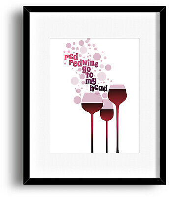 NEIL DIAMOND UB40 Song Lyric Music Poster (RED RED WINE) Prints Canvas Plaques
