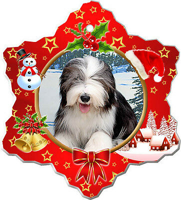 Bearded Collie Christmas Holiday Ornament
