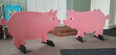 2 x Cute PIGS shaped Horse show jump fillers or wings pony show farm events sign