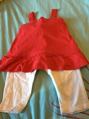 Girls Outfit Age 2-3 Years Red Sleeveless Top White Jeans George
