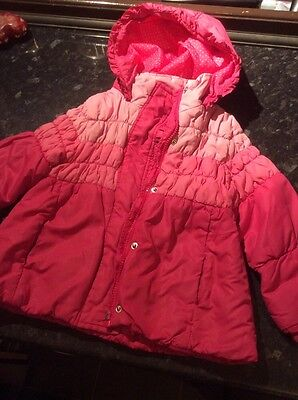 blue zoo pink retro look coat girls age 2-3 years padded puffa hooded Jacket
