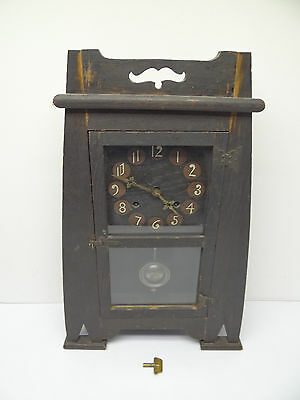 Antique Old Used Wood Wooden Mission Style New Haven Clock Co Mantle Clock Parts
