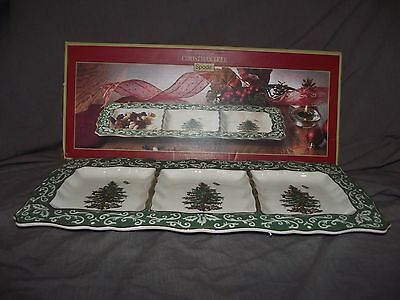 Spode Christmas Tree Embossed 3 Section Serving Tray with Box and Tags
