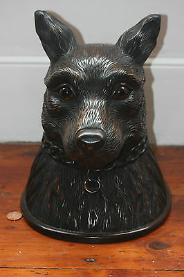 Black Forest Wolf Head Large Carved Tabacco Jar Box