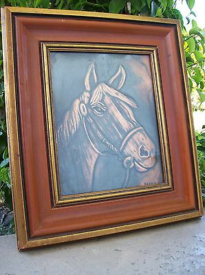 Hammered Copper Relief HORSE HEAD Portrait in Wood Frame by MOONIO