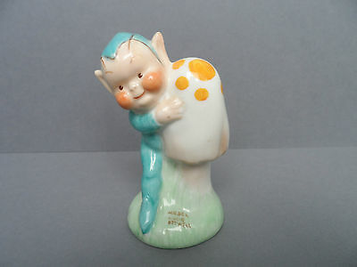 """Shelley Mabel Lucie Attwell """"Pixie with mushroom"""" LA23 gnome figure. C.1940."""