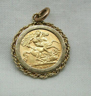 Edwardian 22ct Gold Half Sovereign Coin Pendant In 9ct Gold Mount