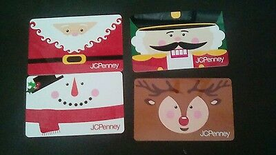 Four JCPenney Christmas Holiday Gift Cards 2016 Collectible