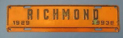 1929 Richmond Virginia license plate attachment nice original