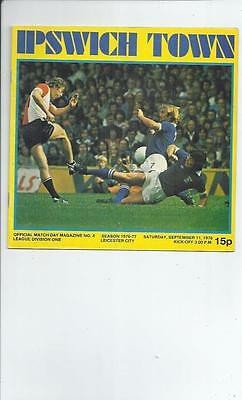 Ipswich Town v Leicester City Football Programme 1976/77