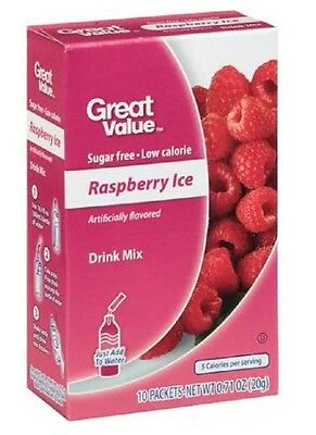 Great Value Raspberry Ice ~ On The Go ~  Drink Mix Water Enhancer ~ 10 ct.