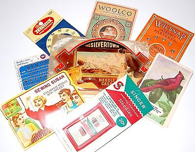 Lot 8 Vintage / Antique Sewing Supplies Needle Cases Machine Needles Snaps ++