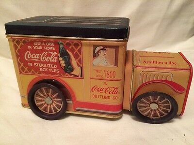 Coca Cola Tin  delivery truck wheels turn front and top open