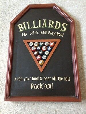 Wooden Billiards Pub Sign 3D Art Sign, 23 Inches X 16 Inches