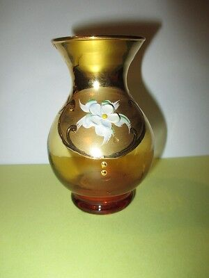 "4"" Cabinet Vase Bohemian Florentine Honey Amber With Lots Of Gold Paste Flowers"