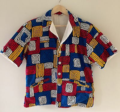 VINTAGE 1960s MEN'S TERRY CLOTH POOL SHIRT MR. CABANA, SIZE M, VEGAS TRIP!