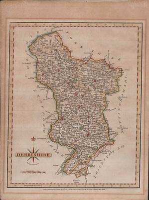 Hand coloured map Derbyshire by John Cary engraver, 1787  Arundel Street. MF.52