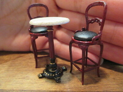 1:24 HALF Scale Bespaq Mahogany Bistro Table & Chairs Set Dollhouse Miniatures