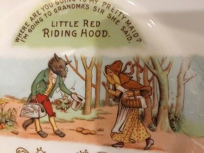 "Antique Little Red Riding Hood Story Plate - 8"", Gold, Wolf Text - Unusual"