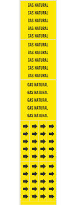 GAS NATURAL Adhesive Sticker Warning Markers & Direction Arrow Bands BRADY 83601