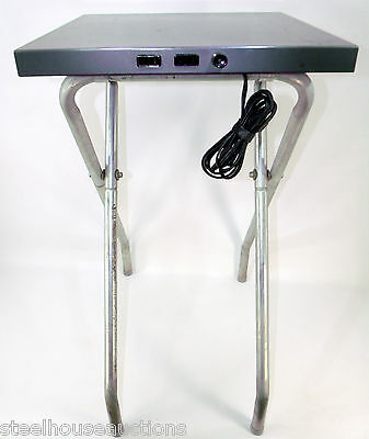 Vintage Foldable Projector Table With Power Panel - Durable Hammertone Finish